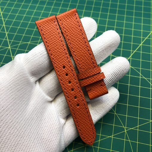 dây đồng hồ handmade da epsom orange slim 1