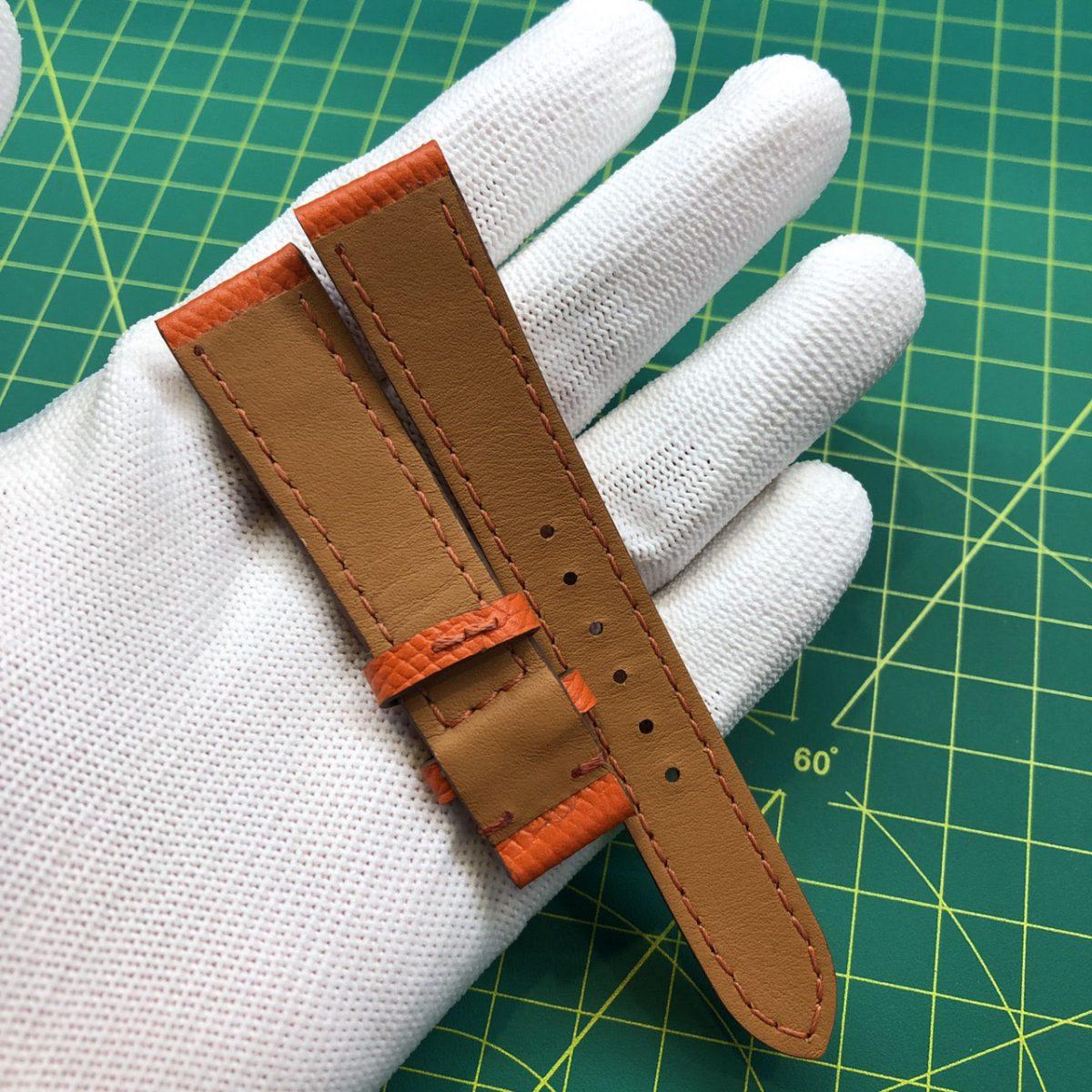 dây đồng hồ handmade da epsom orange slim